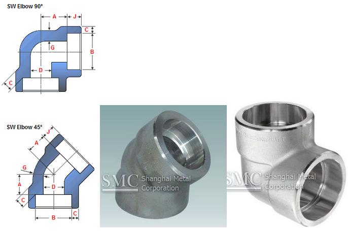 Stainless steel socket weld elbow ° and shanghai